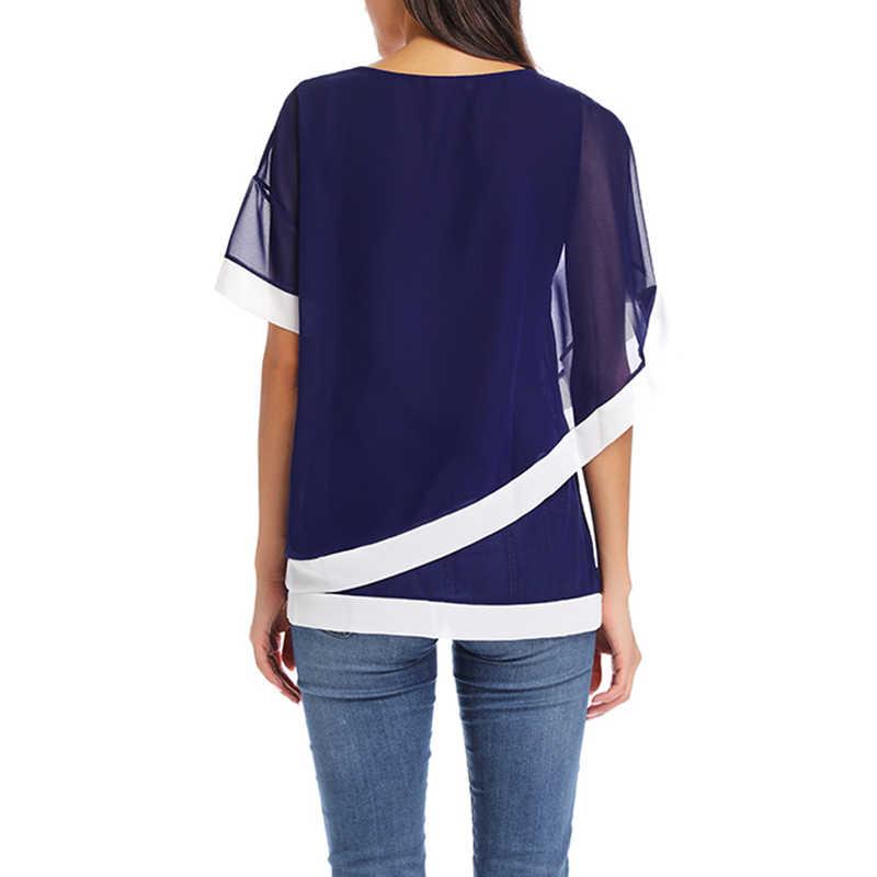 シフォンブラウス 2019 新カジュアル半袖女性のトップスやブラウスファッションパッチワークシャツ Blusas Camiseta Mujer プラスサイズ 5XL