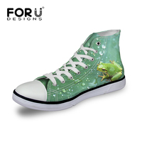 FORUDESIGNS 2018 Women Canvas Shoes,Print Frog Woman Casual Shoes,High top Ladies Walking Shoes Green Plus Size tenis feminino