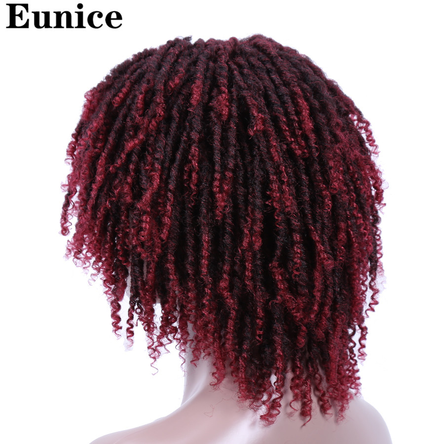 Image 4 - Short Synthetic Wigs For Women Eunice Hair 14'' Soft Dreadlocks Hair Wig Ombre Black Bug Crochet Braids Wigs Heat Resistant Wigs-in Synthetic None-Lace  Wigs from Hair Extensions & Wigs
