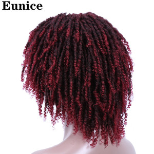 Image 4 - Short Synthetic Wigs For Women Eunice Hair 14 Soft Dreadlocks Hair Wig Ombre Black Bug Crochet Braids Wigs Heat Resistant Wigs