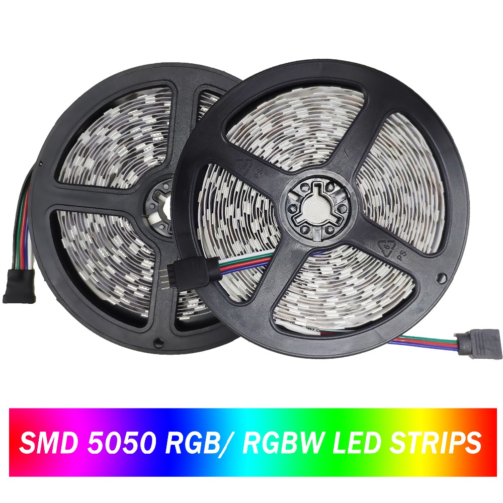 LED Strip 5050 60Leds/m DC12V RGB RGBW Flexible LED Light Waterproof LED Stripe Ribbon Tape TV Backlight Lamp 300LEDs 5m/lot