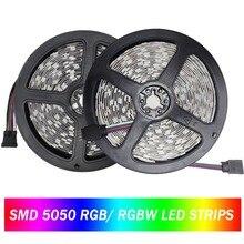 LED Strip 5050 60Leds/m DC12V RGB RGBW Flexible Light Waterproof Stripe Ribbon Tape TV Backlight Lamp 300LEDs 5m/lot