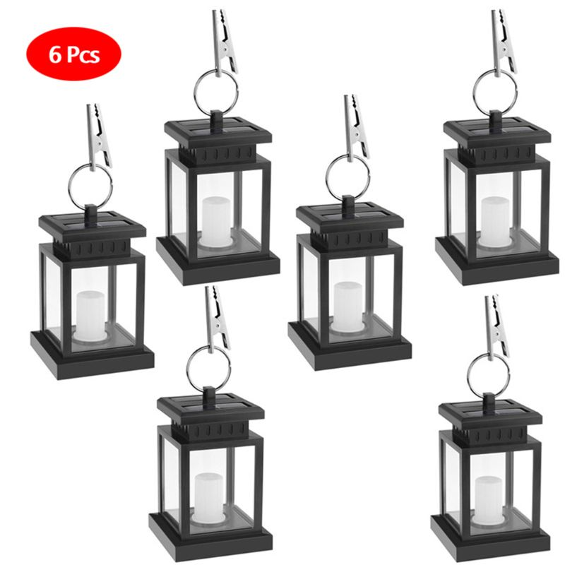 6 Pcs Solar Lantern Hanging Solar Lights Outdoor Decorative LED Solar Outdoor Lantern for Patio Landscape Yard with Warm White F|Solar Lamps| |  - title=