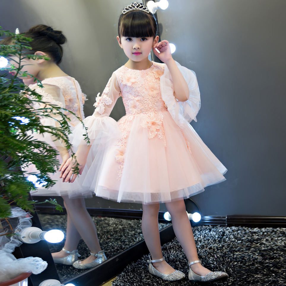 2017Korean Sweet Children Girls Cute Pink/White Color Princess Dress Kids Birthday Wedding Party Embroidery Flowers Summer Dress розетка 2 местная с з со шторками hegel slim слоновая кость