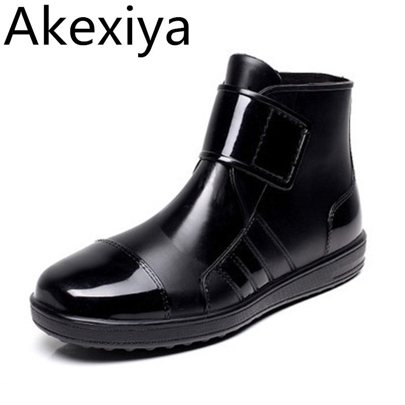 Akexiya Pvc Waterproof Rain Boots Flat with Shoes Woman Unise Rain Woman Water Rubber Ankle Boots Buckle Boats 24.5-27cm Foot  water shoes spring and autumn woman warm rain shoes and ankle rain boots lady waterproof fashion rubber boots