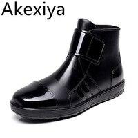 Pvc Waterproof Rain Boots Waterproof Flat With Shoes Woman Men Rain Woman Water Rubber Ankle Boots