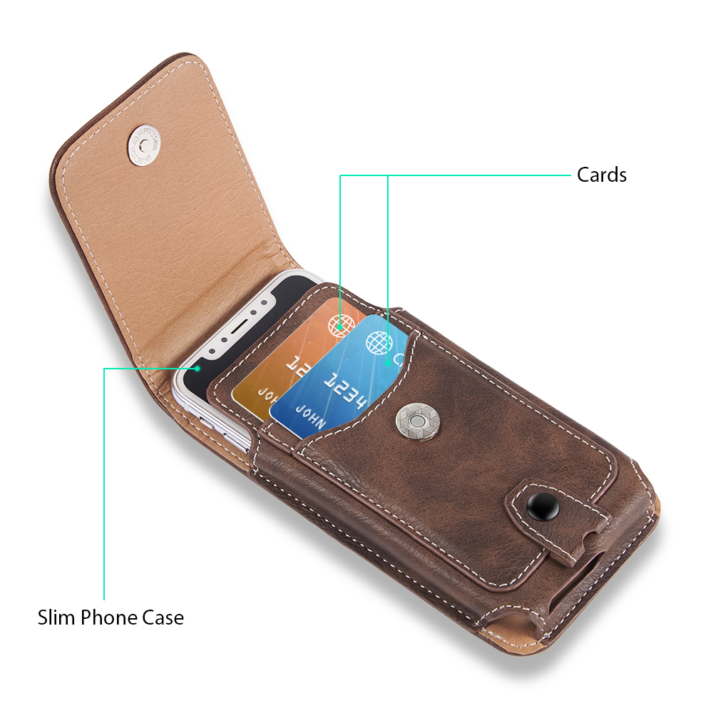 Universal Pouch Leather phone Case For iphone XS X 7 8 plus Waist Bag Magnetic holster Belt Clip phone cover for redmi 5 plus  (4)