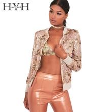 HYH HAOYIHUI Fashion Women Coat Floral Print Embroidery Patchwork Long Sleeve Cardigans Streetwear Punk Casual Bomber Jacket