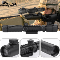 Tactical C3 9X32 EG Red & Green Illuminated Rangefinder Reticle Rifle Scope Airsoft Riflescope with Tri rail mount for Hunting