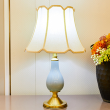 TUDA American Style Ceramic Table Lamp For Bedroom Living Room Gourd Copper Bronze Home Decor LED Lamps