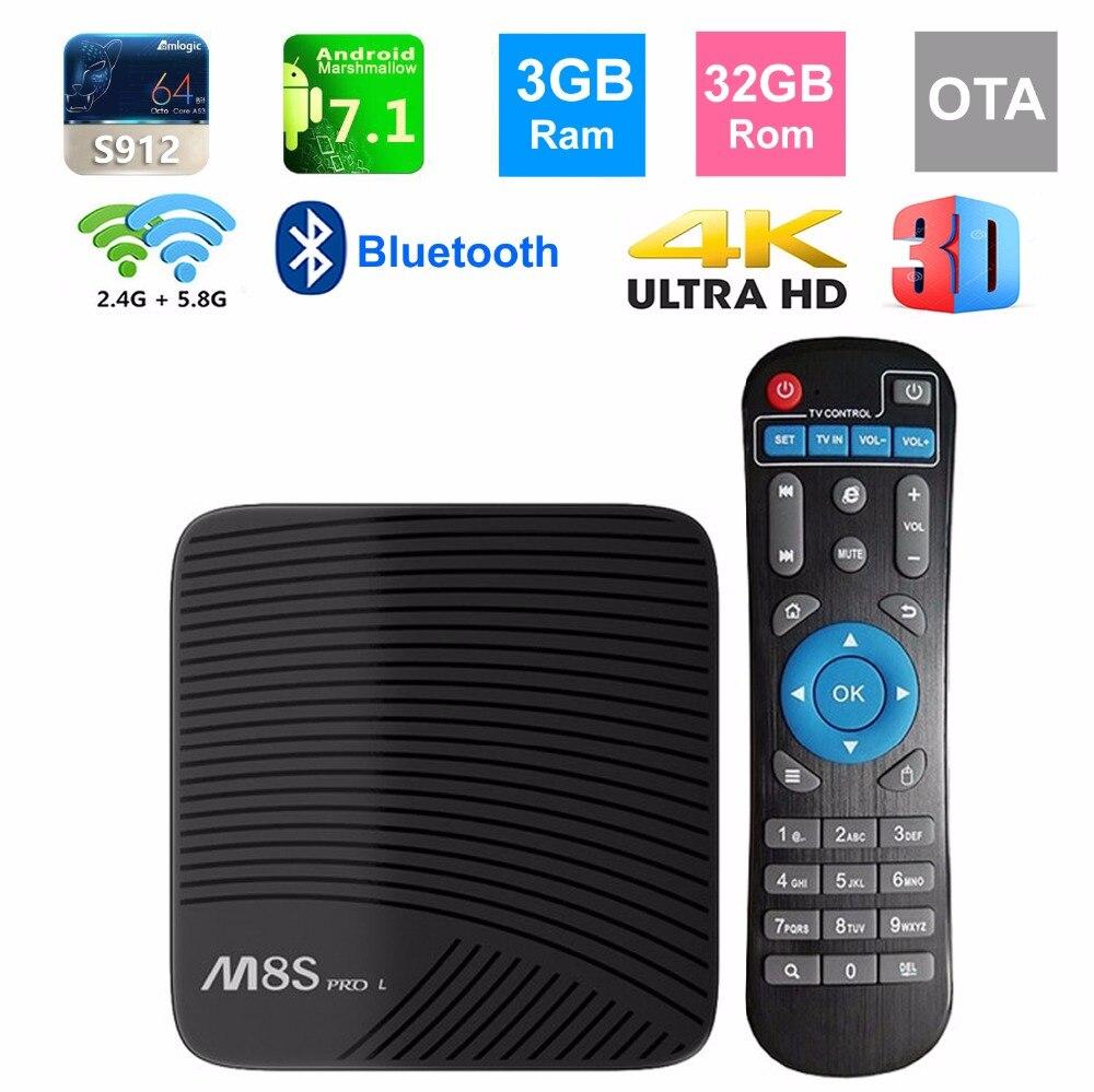 M8S PRO L Smart TV BOX Android 7.1 Amlogic S912 Octa core 3GB/32GB 2.4G/5G Dual WIFI 4K 3D Bluetooth TV Set-top Box 4K Streaming r tv box pro amlogic s912 android 6 0 4k 60fps tronsmart tsm01