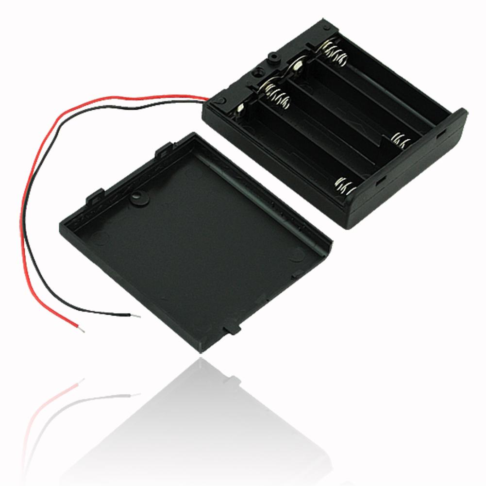 Black Plastic 2x 3x 4x AA AAA Battery Storage Box Case 2 3 4 Slot Way DIY 3A Batteries Clip Holder Container With Wire Lead Pin