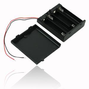 Image 1 - Siyah plastik 2x 3x 4x AA AAA pil saklama kutusu durumda 2 3 4 yuvası yollu DIY 3A piller klip tutucu konteyner tel kurşun ile Pin
