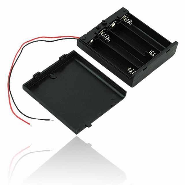 Siyah plastik 2x 3x 4x AA AAA pil saklama kutusu durumda 2 3 4 yuvası yollu DIY 3A piller klip tutucu konteyner tel kurşun ile Pin