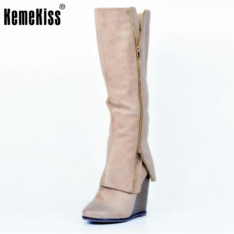 ФОТО Size 34-47 Women Shoes Autumn Winter Ladies Fashion Wedge High Heel Boots Knee Thigh High Suede Long Boot Brand Designer