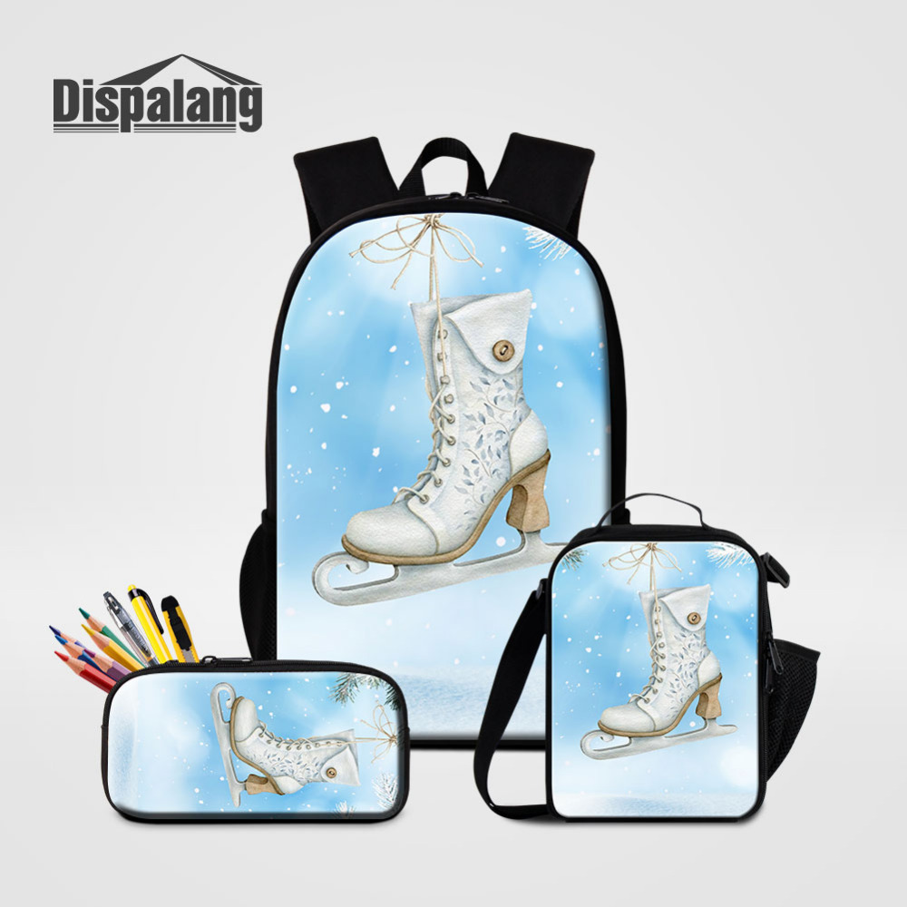 Dispalang Women Backpack Ice skates Print School Bags For Teenager 3 Set/Pcs Rucksack+Cooler Bag+Pencil Bag Mochila Feminina