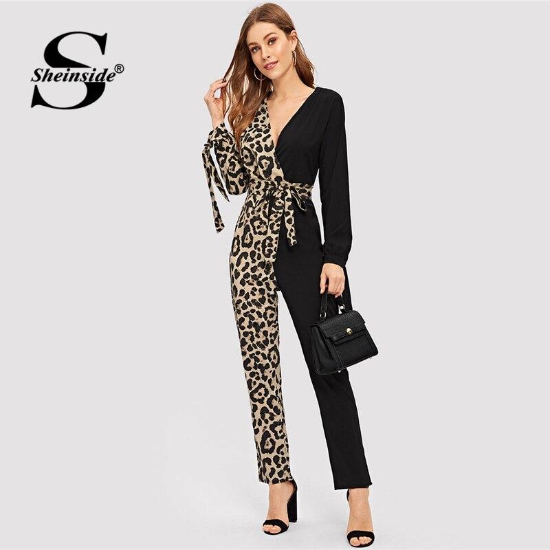 Sheinside Deep V Neck Contrast Leopard Print Belted Jumpsuit Elegant Long Sleeve Jumpsuits For Women OL Mid Waist Long Jumpsuit