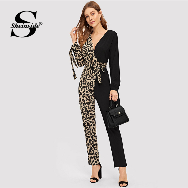 Sheinside Deep V Neck Contrast Leopard Print Belted   Jumpsuit   Elegant Long Sleeve   Jumpsuits   For Women OL Mid Waist Long   Jumpsuit
