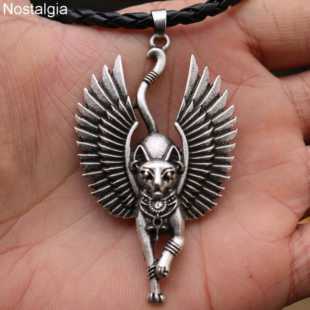 Image 5 - 10pcs Egyptian Bastet Sphinx Jewelry Egypt Amulet And Talisman  Cat With Angel Wings Pendant NecklacePendant Necklaces