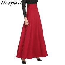 Neophil, зимние мусульманские женские длинные юбки в пол, плюс размер, 5XL, черные макси юбки с высокой талией, юбки для скейтеров, Jupe Longue MS1809