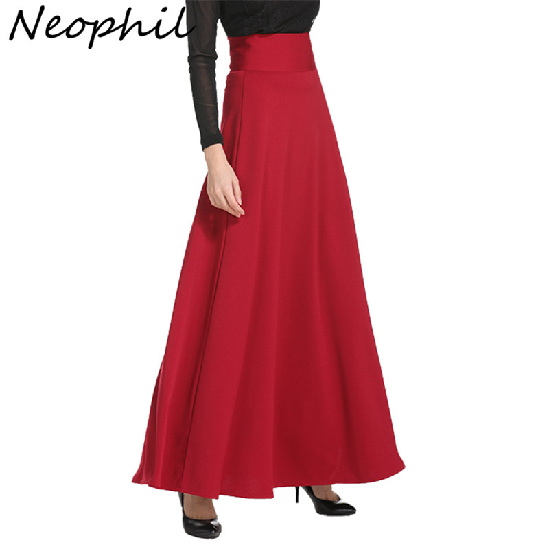 Neophil 2020 Winter Muslim Women Floor Length Long Skirts Plus Size 5XL Black High Waist Maxi Skater Skirts Jupe Longue MS1809
