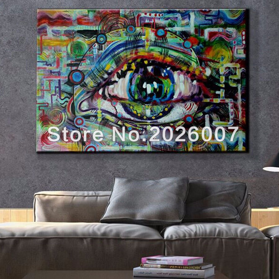 Unique modern abstract art painting of eye wall art canvas pop art hand painted ideas cuadros