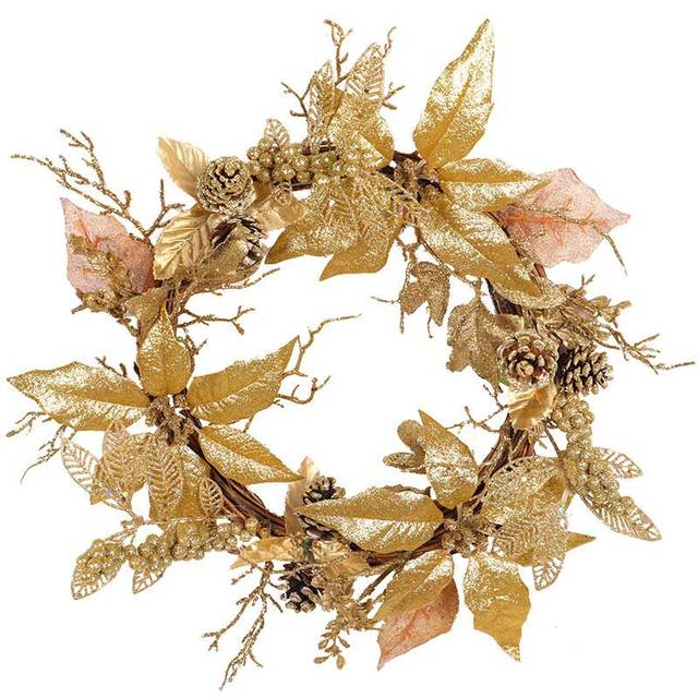 Us 19 99 9 Off 50cm Gold Christmas Wreath Door Ornaments Artificial Flowers Decorations For Home Fake Leaves Pinecone Xmas Garland Supplies In Party