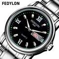 2016Hot Vender Estilo de Negocios Reloj de pulsera de Cuarzo Vestido Reloj Marca de Lujo Hombres de Acero Inoxidable A Prueba de agua Calendario Completo fl010309