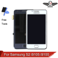 Para samsung galaxy s2 plus i9105 i9105p i9100 display lcd touch screen digitador com a montagem do quadro