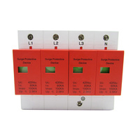Power Surge Protector 100KA Three phase Power Lightning Protection Module 380V Lightning Arrester Surge Protector 4P