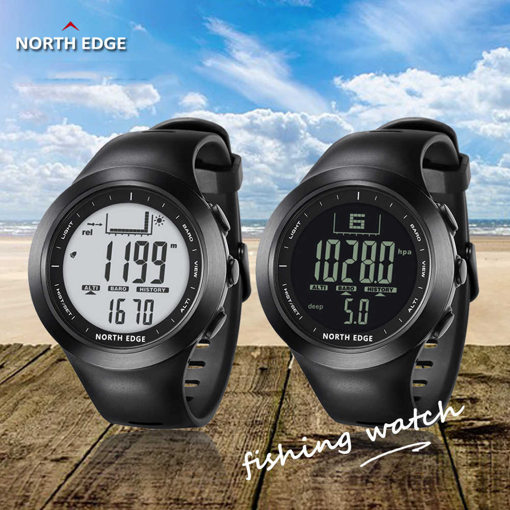 NORTH EDGE 100M Waterproof Men's Sport Digital Smart Watch Running Fishing Altimeter Barometer Compass Thermometer Weather Clock