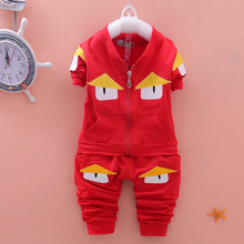 4colors Toddler Kid Clothing 2016 New Fashion Spring/Autumn Cartoon Children Boy/Girl Clothing Sets Cute Coat Kids Cloths 2pces