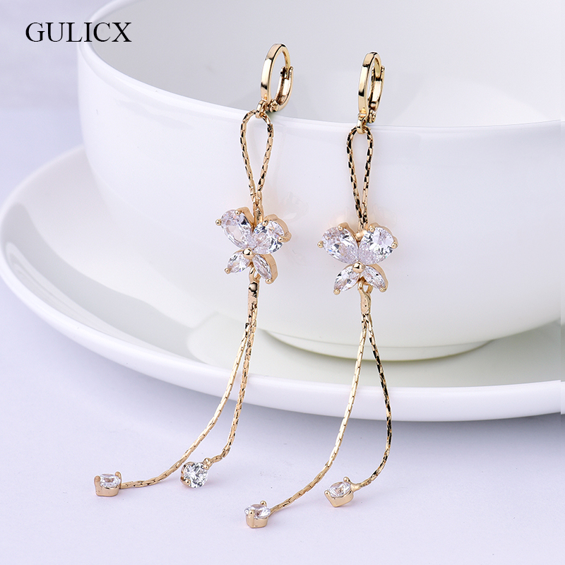 GULICX Fashion Long Tassel Earing for Women Gold-color Earring Crystal Cubic Zircon Dangle Earrings Wedding Jewlery E122