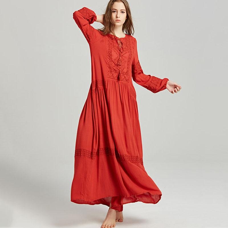 Vintage fête longue robe femmes automne boho broderie bohème maxi longues robes personnes hippie lâche grande taille robe 2018 YM552