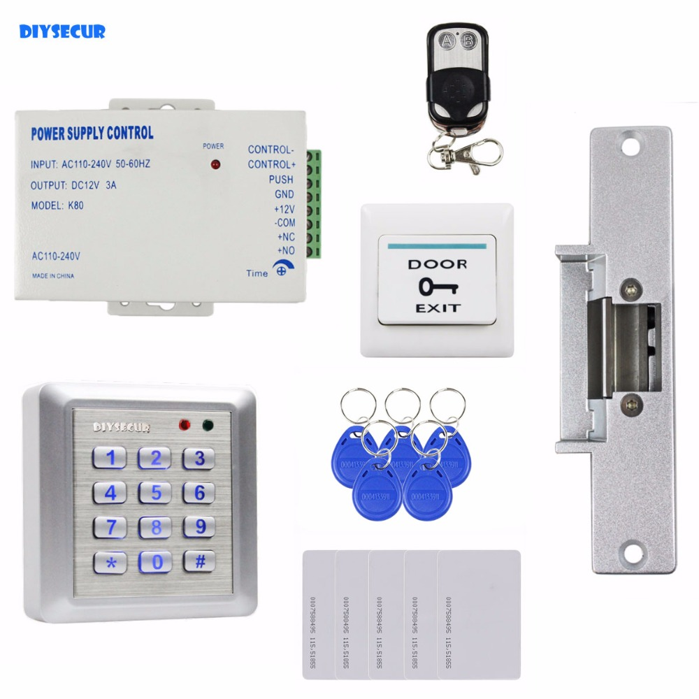 DIYSECUR Waterproof RFID Reader Access Control System Full Kit Set + Electric Strike Door Lock + Remote Controller remote control rfid reader access control system full kit set electric strike door lock power supply k2000