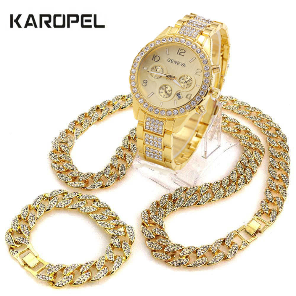 "Iced Out Watch 18"" Cuban Link Chain Necklace & 8.5"" Bracelet Bundle Sets"