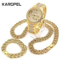 Iced Out Watch 18 Cuban Link Chain Necklace & 8.5 Bracelet Bundle Sets