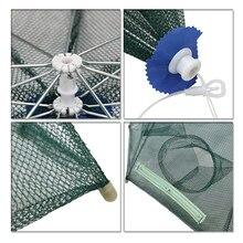 Pisfun 18 Holes Automatic Foldable Fishing Net Nylon Shrimp Crab Minnow Trap Fish Cast Net Fishing Tackle