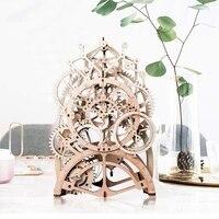 Vintage Home Decor DIY Crafts Wooden Pendulum Clock Model Gear Drive by Clockwork Spring Gift for Children Teens Friends LK501