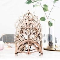 Vintage Home Decor DIY Crafts Wooden Pendulum Clock Model Kits Decoration Mechanical Gears Clockwork Gift for Teens Friend LK501