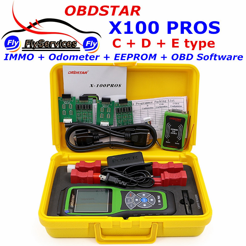 X-100 PROS (C+D+E Model) IMMOBILISER+Odometer+EEprom Adapter OBDSTAR X100 PROS Auto Key Programmer X 100 PRO Free Update Online