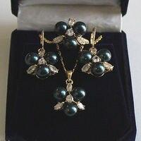 Echt silber schmuck frauen Hochzeit 8mm Schwarz Südsee Shell perlen Ohrringe Ring & Halskette Anhänger Jewel Set> AAA Brida brinco