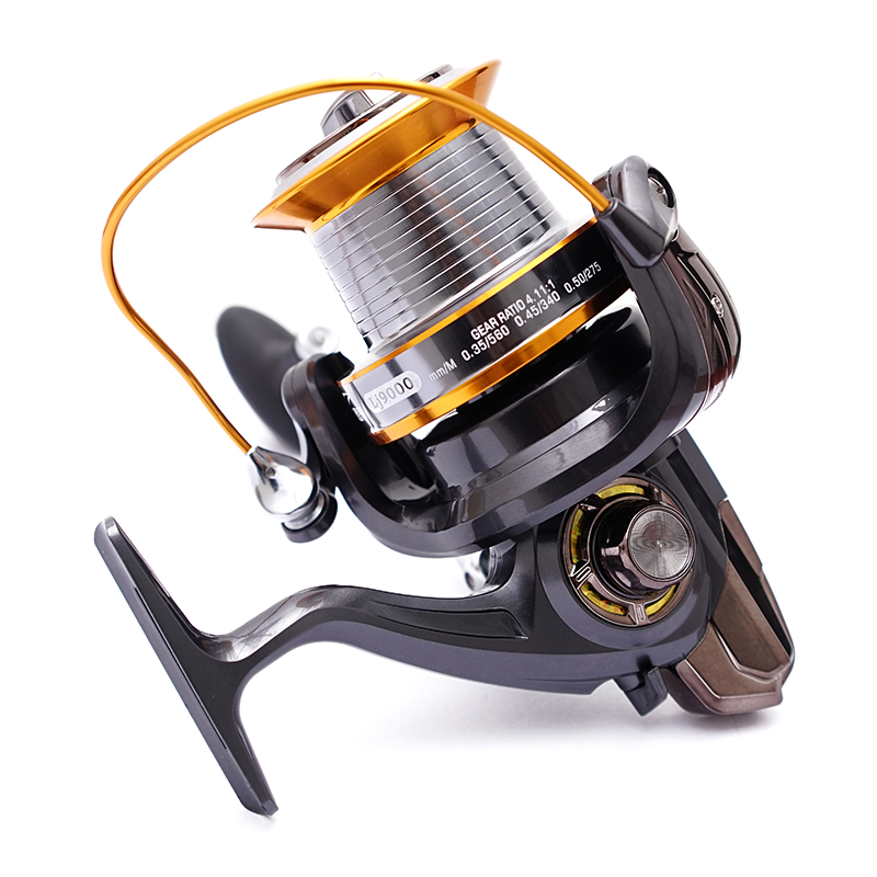 LJ9000 Seires 13 Ball Bearings Trolling Fishing Reels High Speed 4.11:1 Super Big Long Casting Sea Spinning  Fishing Reel D0 3bb ball bearings left right interchangeable collapsible handle fishing spinning reel se200 5 2 1 with high tensile gear red