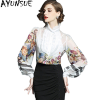 AYUNSUE Fashion Chiffon Blouse Women Shirts 2018 Long Sleeve Blouse White Floral Casual Womens Tops and Blouses Clothing WYQ1109