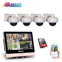 ARSECUT 2.0MP POE 12Inch LCD NVR Kit 4PCS CCTV Video Security Surveillance Set NightVision CCTV Security IP Dome Camera System
