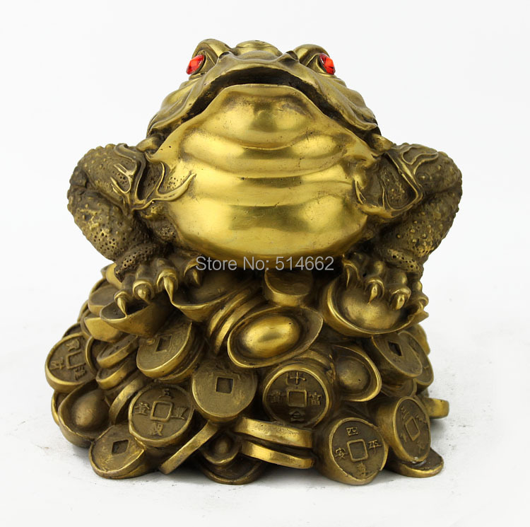Figure Home Office Decoration Three Legged Toad//Wealth Frog Jade, L Feng Shui Resin Money Frog