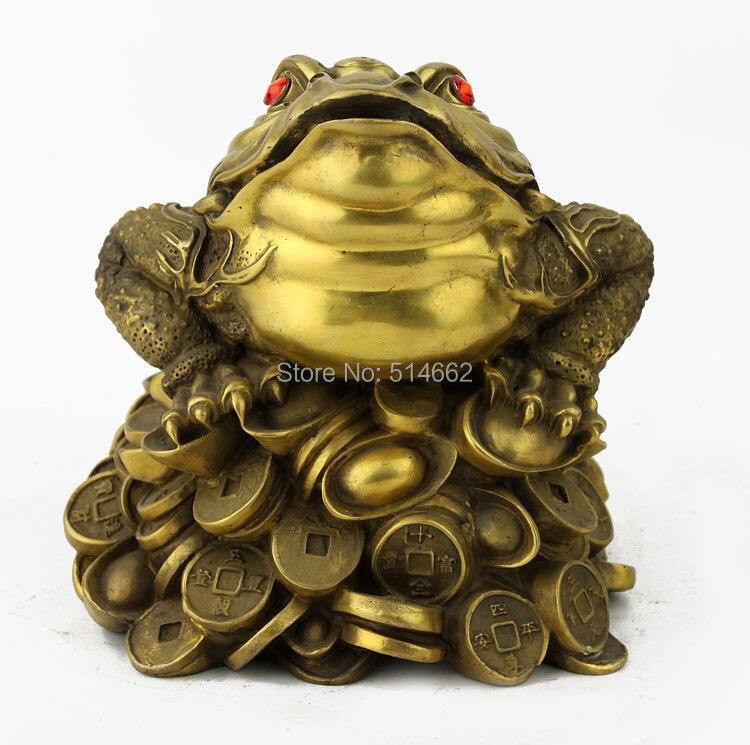 grand feng shui laiton trois pattes crapaud l 39 argent grenouille dans figurines et miniatures de. Black Bedroom Furniture Sets. Home Design Ideas
