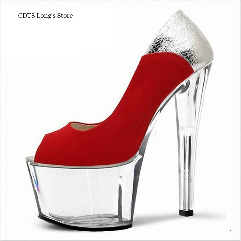 CDTS 2016 Color matching Flock shoes woman spring/autumn Peep Toe 15cm high heels crystal platform wedding pumps,Big 35-45 46