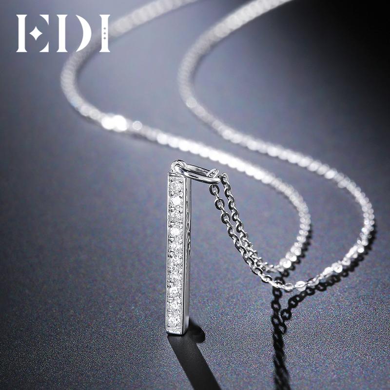 EDI Forever Classic 0.08cttw Natural Diamond H/SI Real 18k White Gold Pendant For Women Fine Jewelry