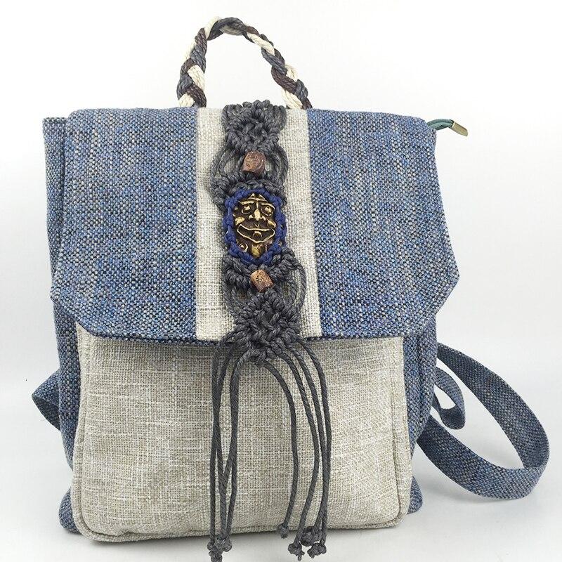 Mode femmes ethniques sac à dos à la main gland rabat couverture fil de cire tricoté à la main National sac à dos fille cadeau sacs de voyage